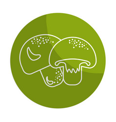 Sticker delicious fresh mushrooms organ food vector