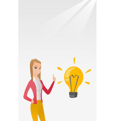 Student pointing at idea bulb vector