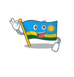 Sweet flag rwanda cartoon character making an okay vector