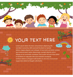 template with happy kids on brick wall vector image