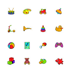toys icons set cartoon vector image