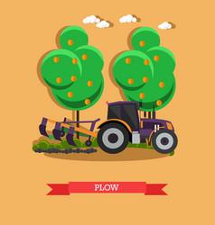 Tractor plowing soil in vector