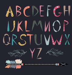 tribal alphabet ethnic font african or aztec vector image