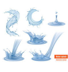 Water splashes realistic set vector