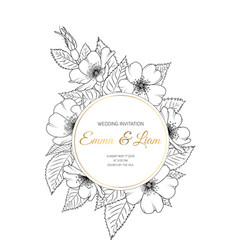 Wedding invitation wild rose wreath black white vector