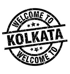 welcome to kolkata black stamp vector image