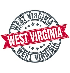 West Virginia red round grunge vintage ribbon vector