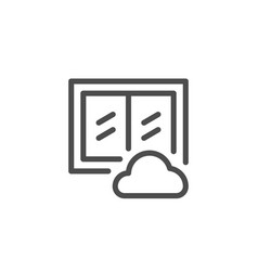 Window cleaning line icon vector