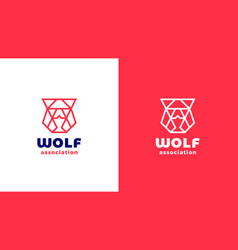 wolf head logotype template positive and negative vector image