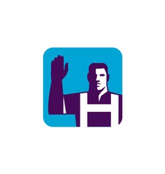 Worker Right Arm Raise to Vote Square Retro vector