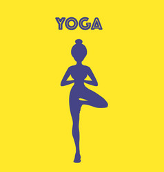 yoga word with pose icon eps10 vector image