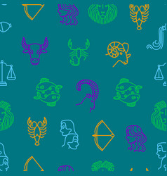 zodiacal seamless pattern background vector image