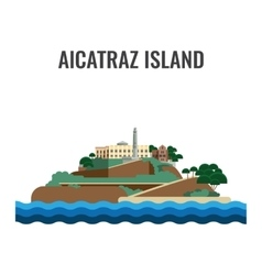 Alcatraz island view from the sea vector image vector image