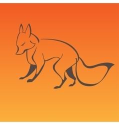 Fox sign in curve lines vector image vector image