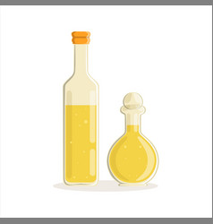 sunflower or olive oil glass bottles vector image