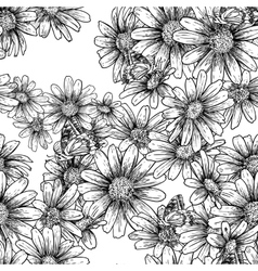 Vintage seamless monochrome pattern with daisies vector image