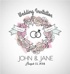 Wedding invitation rose vector image vector image