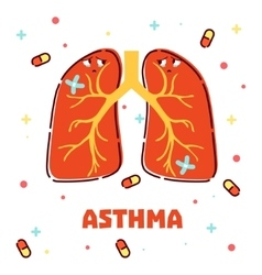 Asthma concept with cartoon lungs vector image vector image