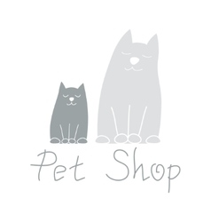 Cat mother and kitten best friends sign for pet vector image