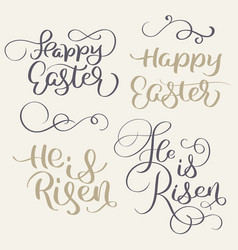 Happy easter and he is risen words vintage vector