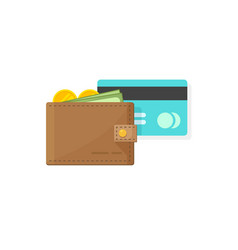 leather wallet with coins money paper cash and vector image