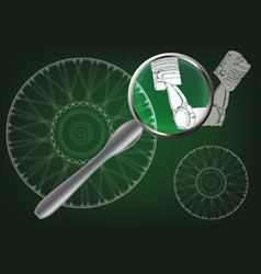 white wheel and two pistons vector image