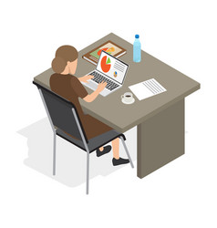 businesswoman at laptop isolated vector image vector image