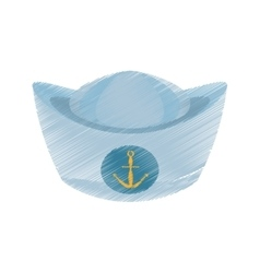 drawing sailor cap nautical anchor design vector image