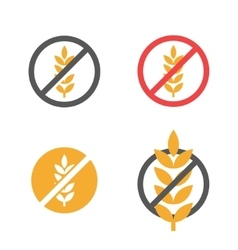 gluten free grain icons set vector image