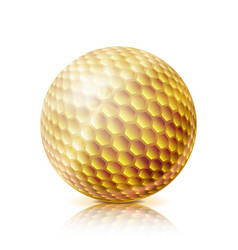 gold golf ball 3d realistic vector image