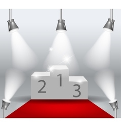 illuminated winners podium isolated with red vector image vector image