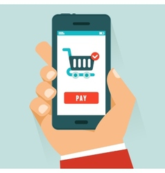 mobile payment concept in flat style vector image