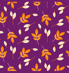 Rustic fall orange leaves seamless purple pattern vector