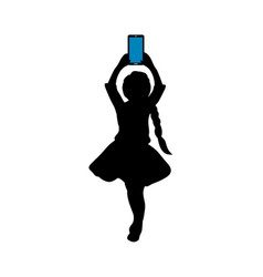 silhouette girl with phone in her hand vector image
