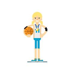 smiling woman basketball player with ball vector image vector image