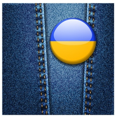 Ukraine Flag Badge On Jeans Denim Texture vector image