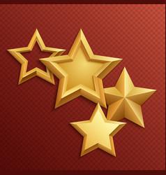 award shiny metal golden stars vector image