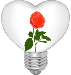 Bulb in the form of heart and in it a flower vector image