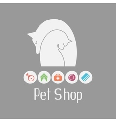Cat and dog tender embrace pet shop logo what vector image vector image