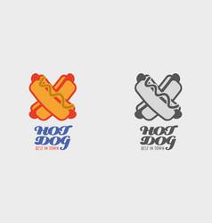 hot dog logo label or badge fast food vector image vector image
