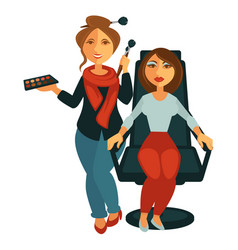 makeup artist near model in armchair poster vector image