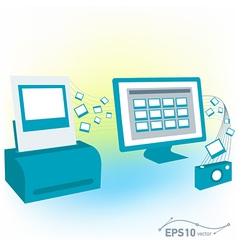 pc computer monitor printed photo pictures of came vector image vector image