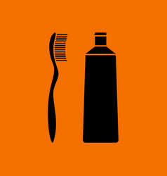 toothpaste and brush icon vector image