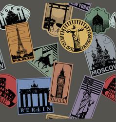 Vintage paper color landmarks travel labels vector
