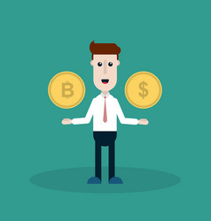 a man with a bitcoin and a dollar vector image