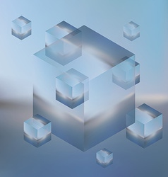 Abstract isometric cubes on blurred background vector