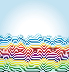 abstract rainbow waves on a blue background vector image