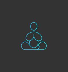 abstract yoga human linear logo thread relax vector image