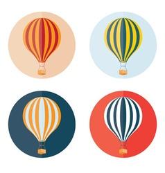 air balloons flat design icons set vector image