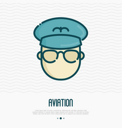 airplane pilot thin line icon vector image